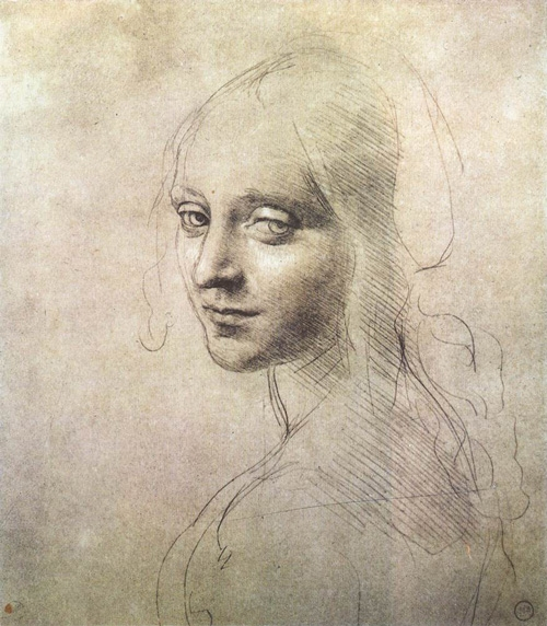"""Leonardo da Vinci, """"Study for the Head of a Girl""""   Silverpoint with white highlights on prepared paper, 181   x 159 mm (Biblioteca Reale, Torino)"""