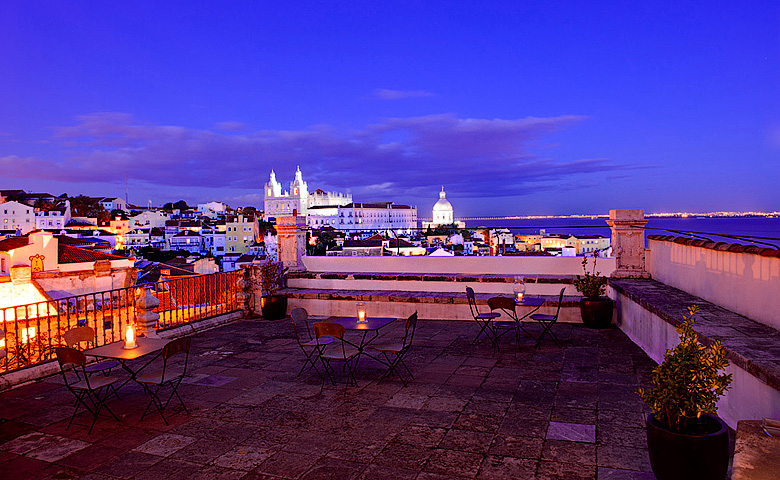 The terrace at the Palácio Belmonte, overlooking the beautiful city of Lisbon, Portugal.