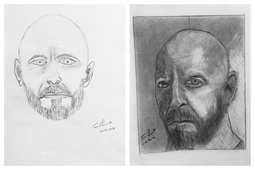Before and After Self-Portrait January 2018