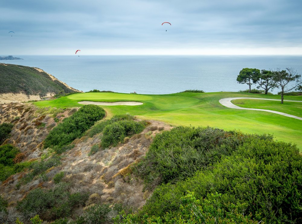 Spectacular oceanfront greens at the Torrey Pines Golf Course in La Jolla.