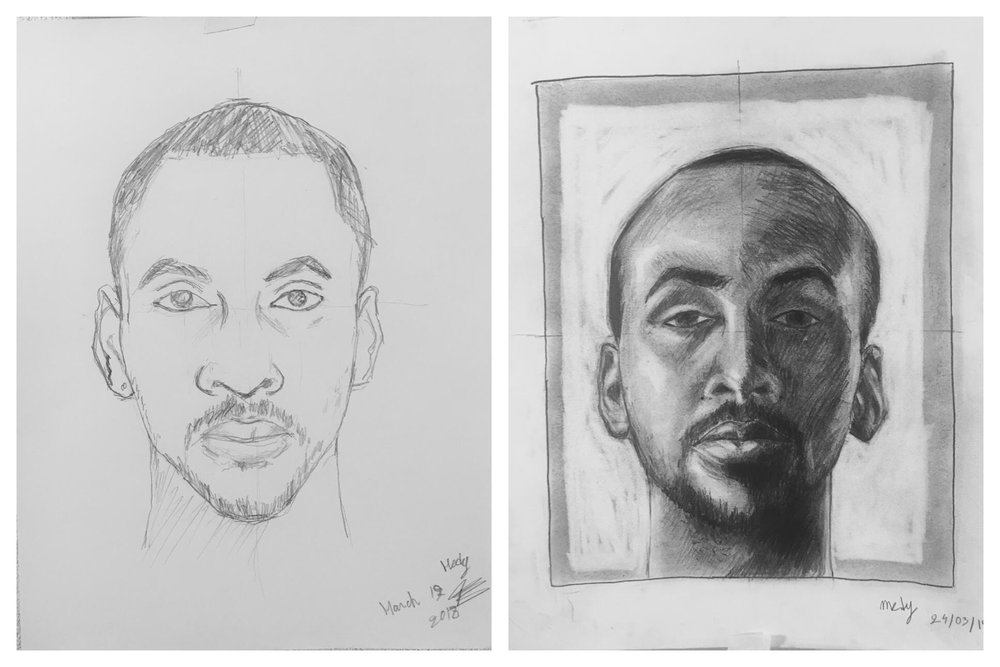 Before and After Self-Portrait March 2018