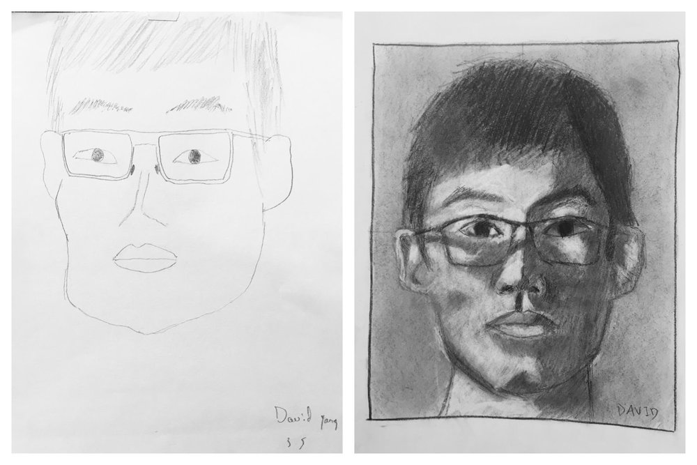 Before and After Self-Portrait Early March 2018