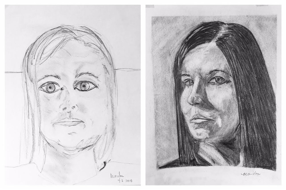 Before and After Self-Portrait April 2018