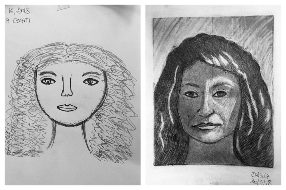 Camilla's Before and After Self-Portrait April 2018