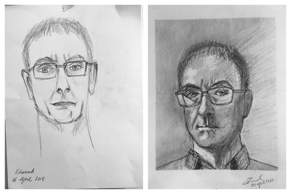 Ed's Before and After Self-Portrait April 2018
