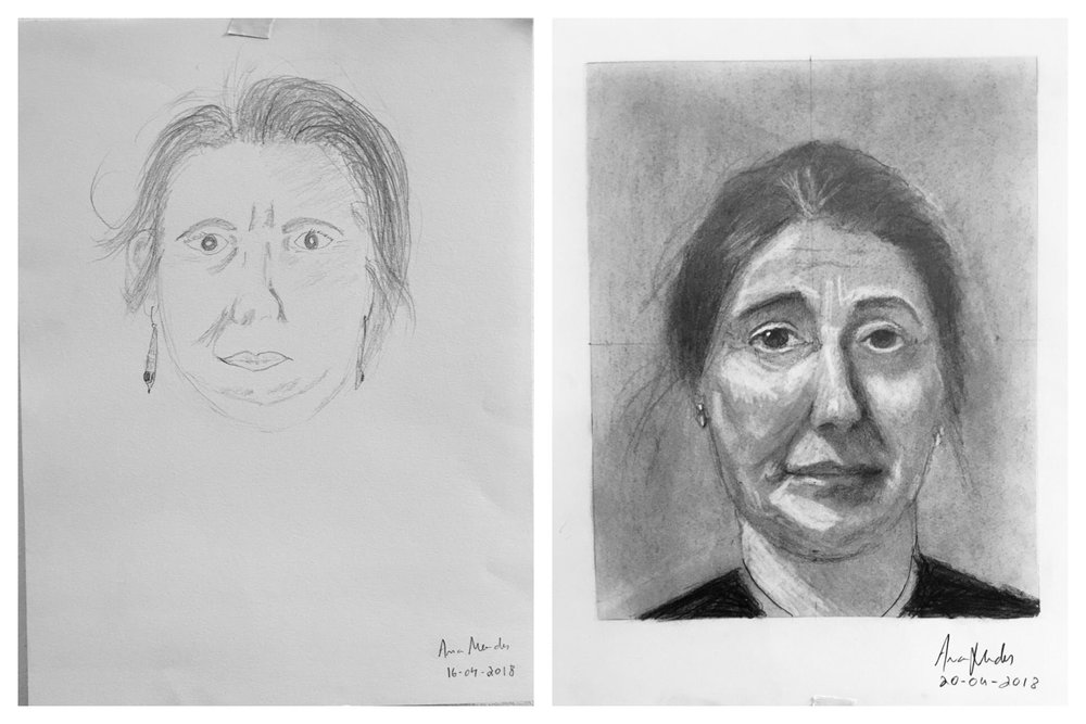 Ana's Before and After Self-Portrait April 2018