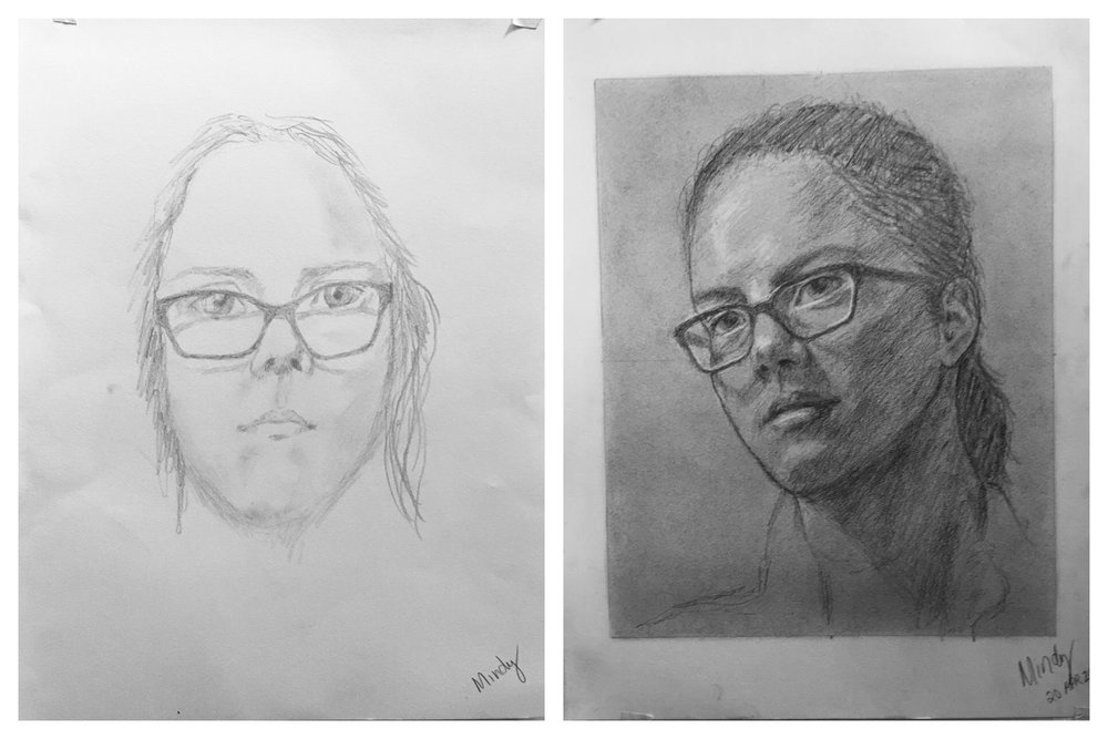 Mindy's Before and After Self-Portrait April 2018