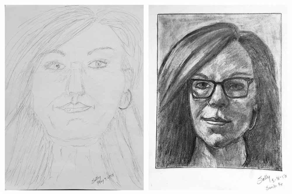 Sally's Before and After Self-Portraits May 2018