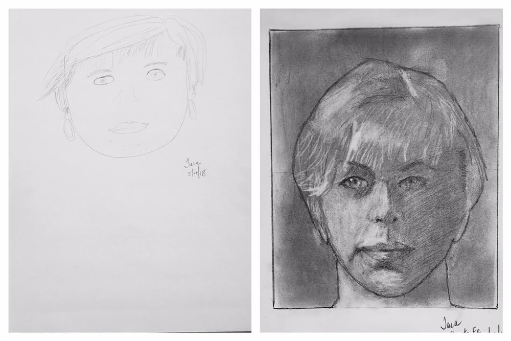 Tara's Before and After Self-Portraits May 2018