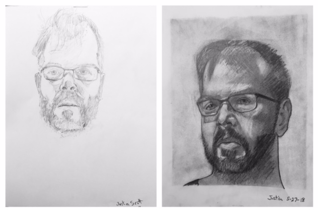 Justin's Before and After Self-Portraits May 2018