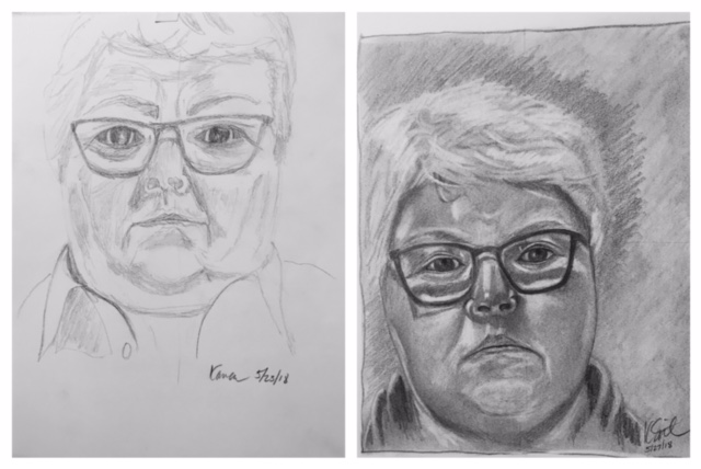 Karen's Before and After Self-Portraits May 2018