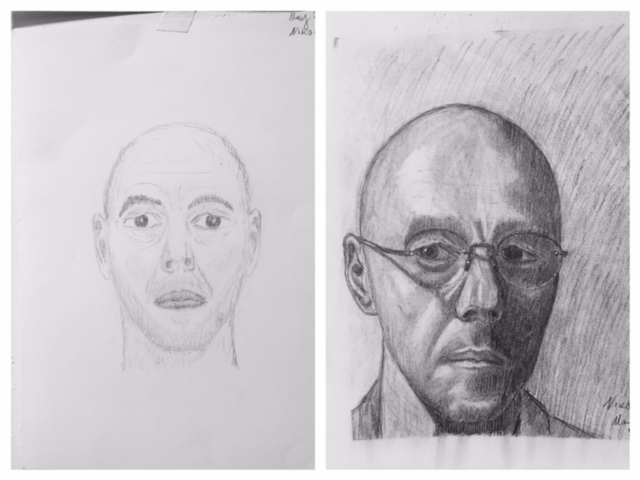 Nikolai's Before and After Self-Portraits May 2018