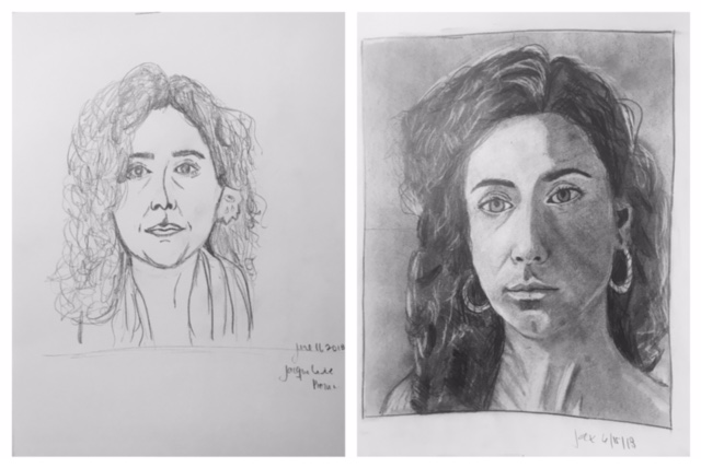 Jacqueline's Before and After Self-Portraits June 2018