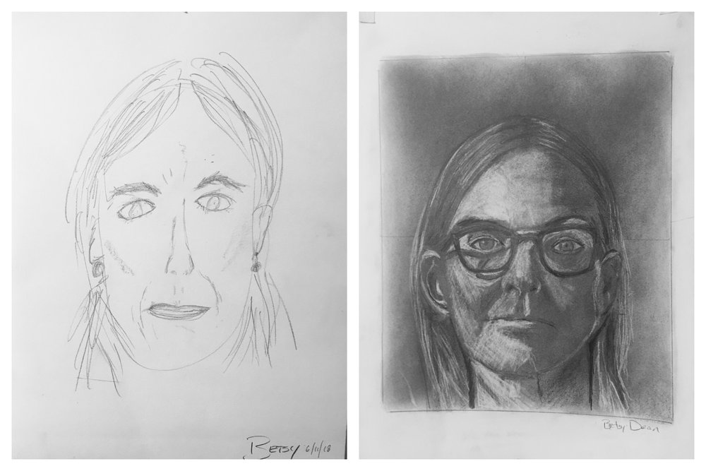 Betsy's Before and After Self-Portraits June 2018