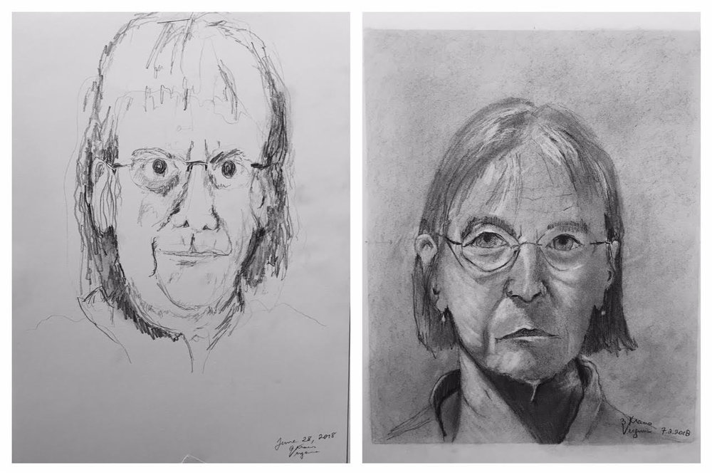 Virginia's Before and After Self-Portraits June-July 2018