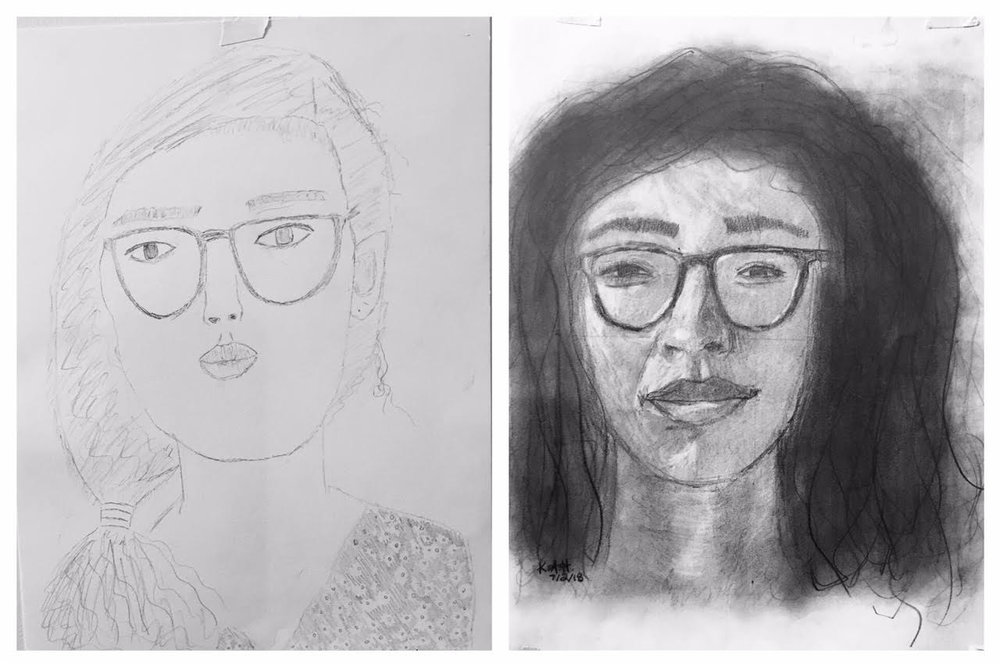 Kazumi's Before and After Self-Portraits June-July 2018