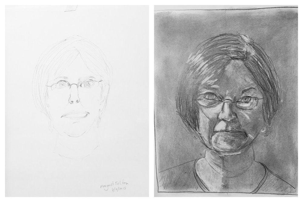Margaret's Before and After Self-Portraits August 2018