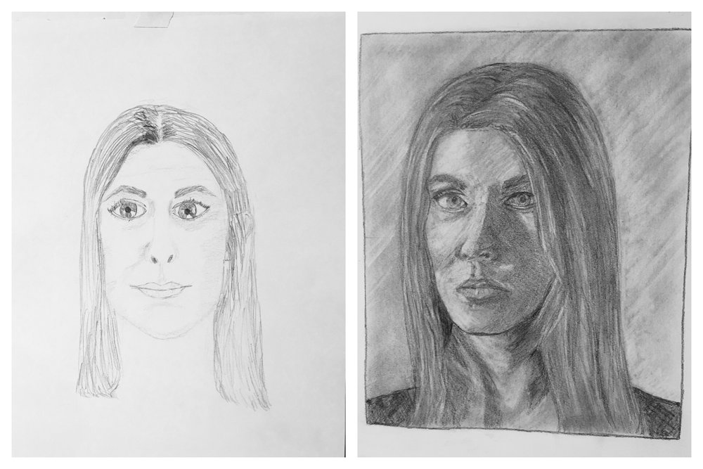 Molly's Before and After Self-Portraits August 2018