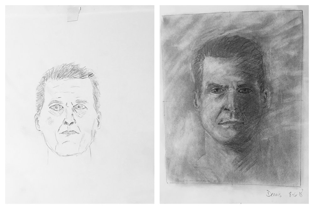 Dennis' Before and After Self-Portraits August 2018