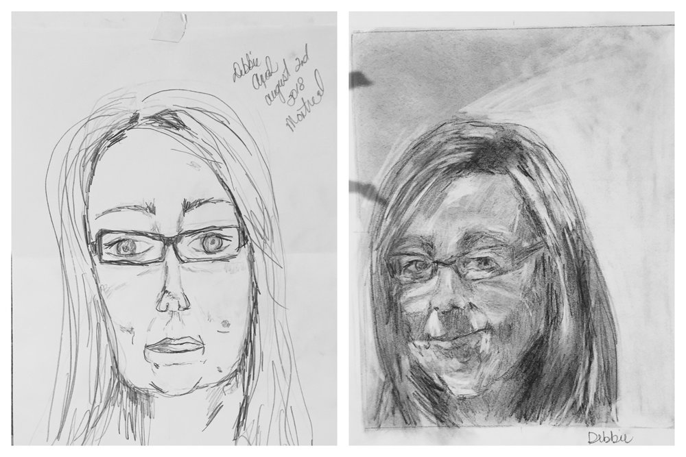 Debbie's Before and After Self-Portraits August 2018