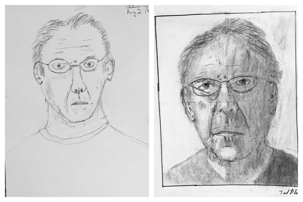 Ted's Before and After Self-Portraits August 2018
