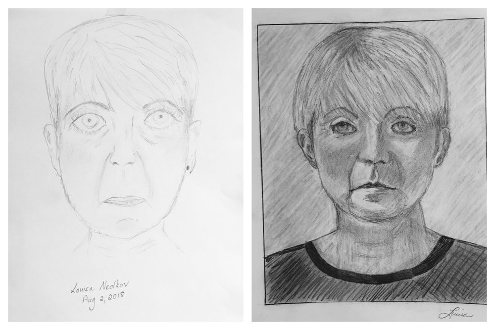 Louisa's Before and After Self-Portraits August 2018