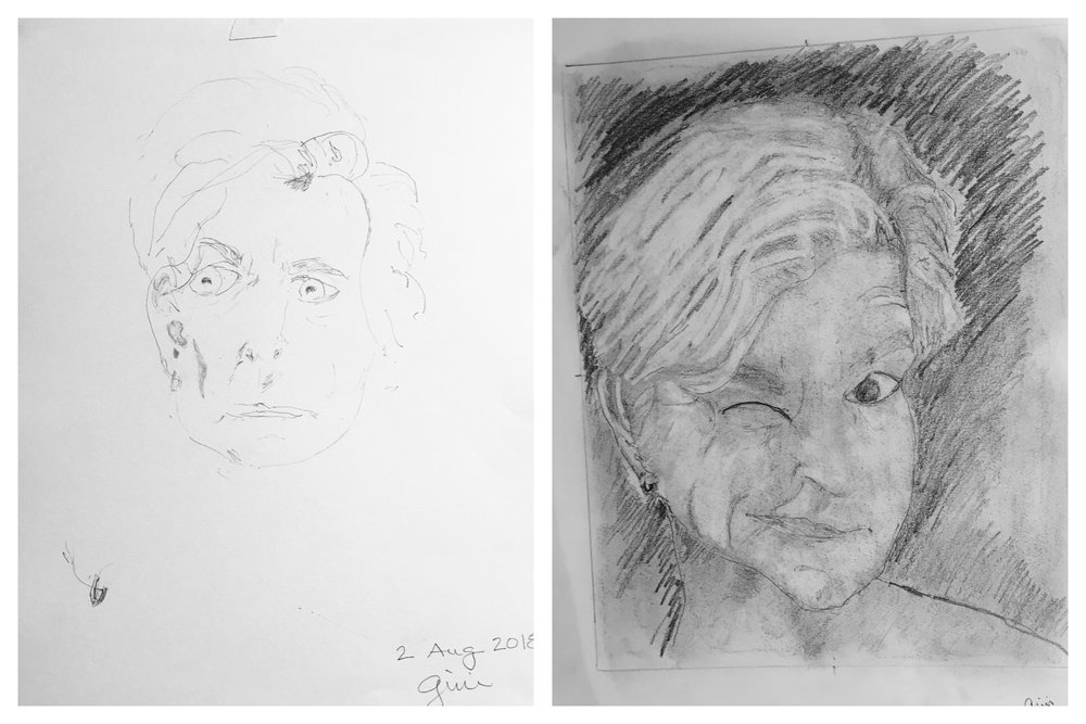 Gini's Before and After Self-Portraits August 2018