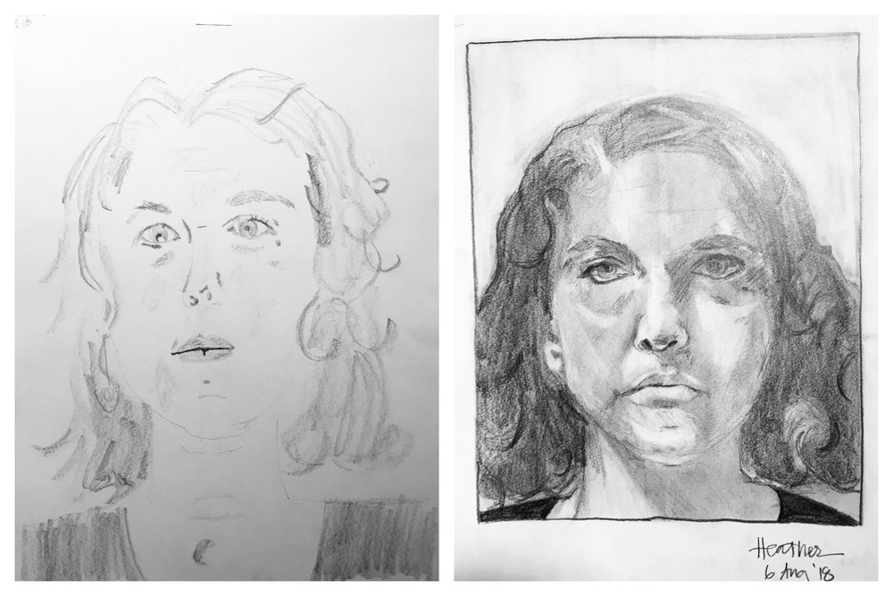 Heather's Before and After Self-Portraits August 2018