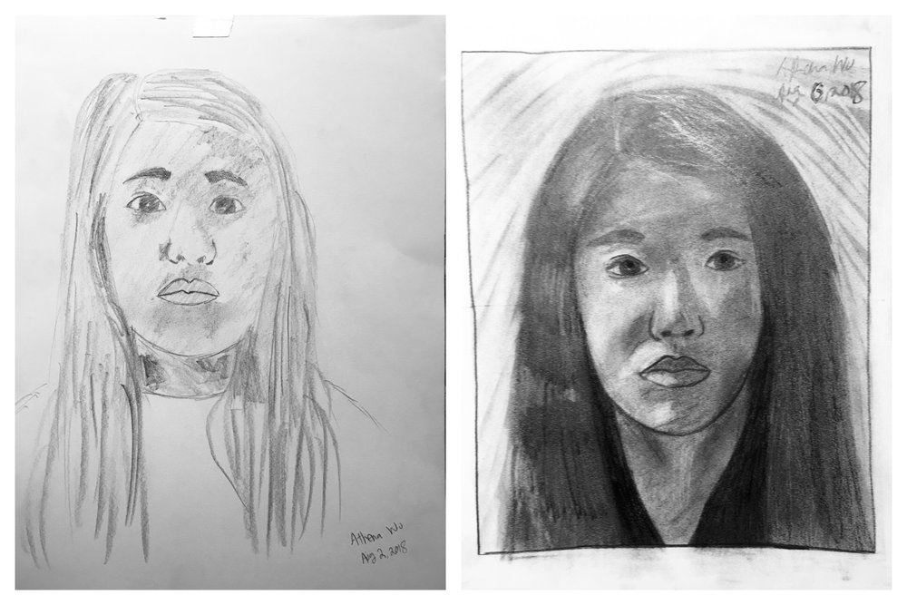 Athena's Before and After Self-Portraits August 2018