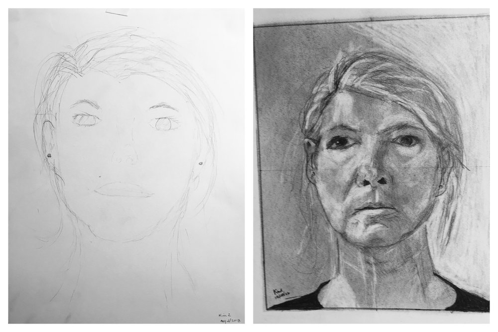 Kim's Before and After Self-Portraits August 2018