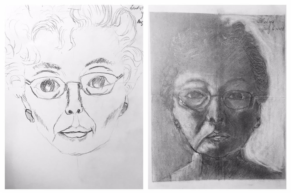 Gladys' Before and After Self-Portraits August 2018