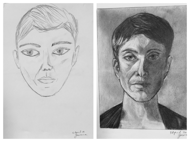 "An example of ""before"" and ""after"" 5 days of instruction using Drawing on the Right Side of the Brain techniques."