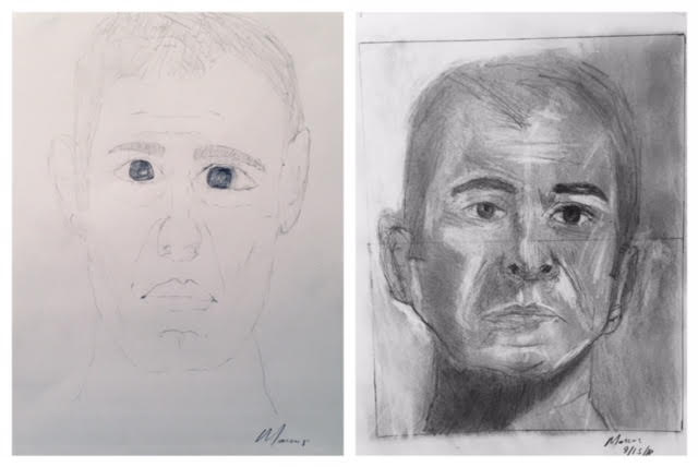 Marcus' Before and After Self-Portraits September 2018