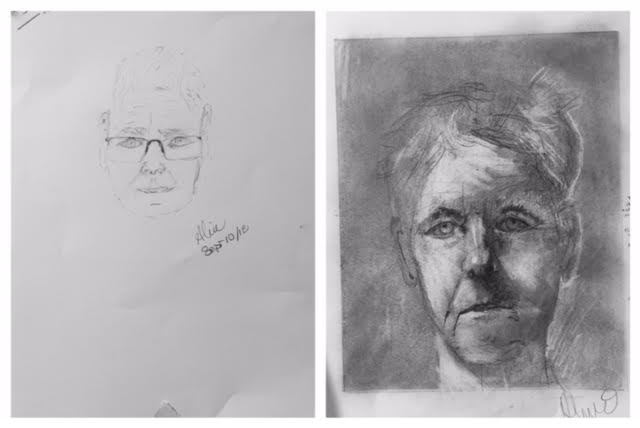 Aline's Before and After Self-Portraits September 2018
