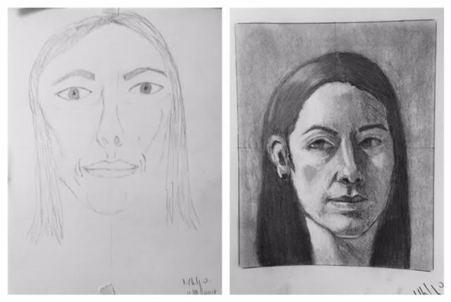 Marcella's Before and After Self-Portraits September 2018