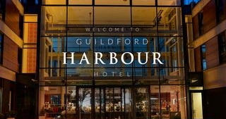 The beautiful, modern Guildford Harbour Hotel and Spa, located in the center of town.