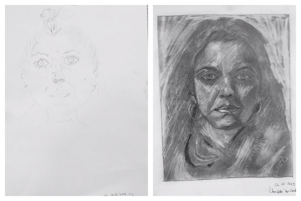 "This is just one of many  ""Before & After""  examples — this student progressed so far in 5 days at a recent DRSB Workshop!"