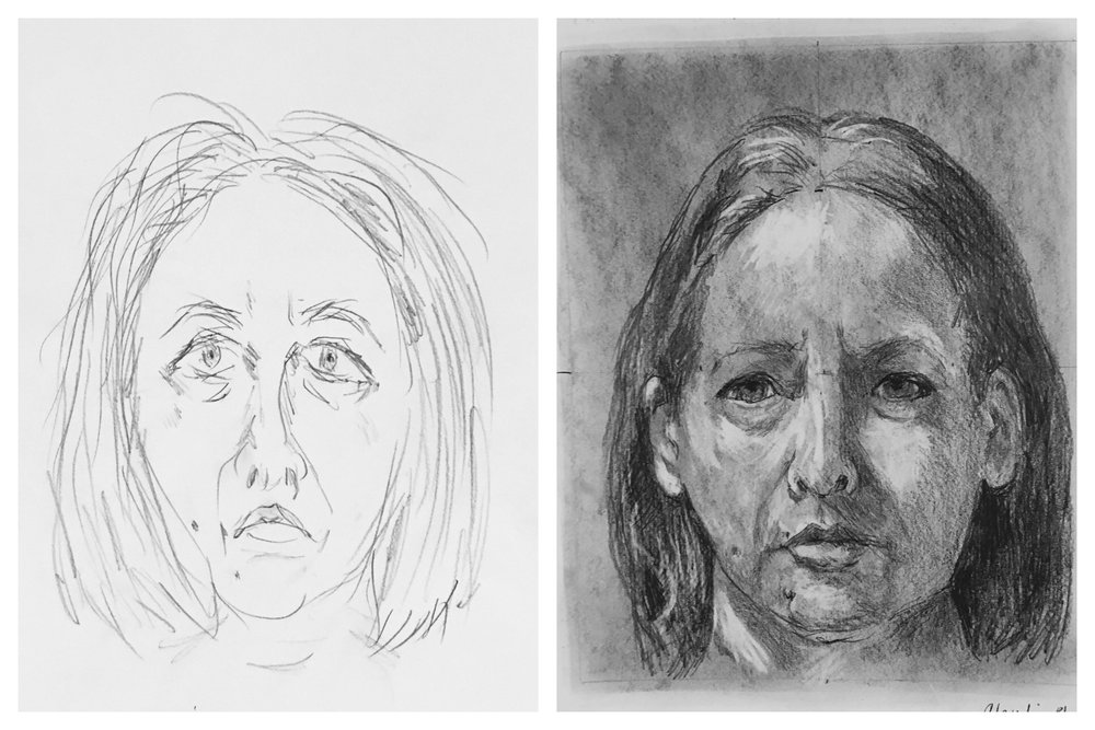 """An example of a """"before"""" and """"after"""" self-portrait by a student using the Drawing on the Right Side of the Brain methods developed by Betty Edwards and taught by Brian Bomeisler. This remarkable transformation occurred after only 5 days."""