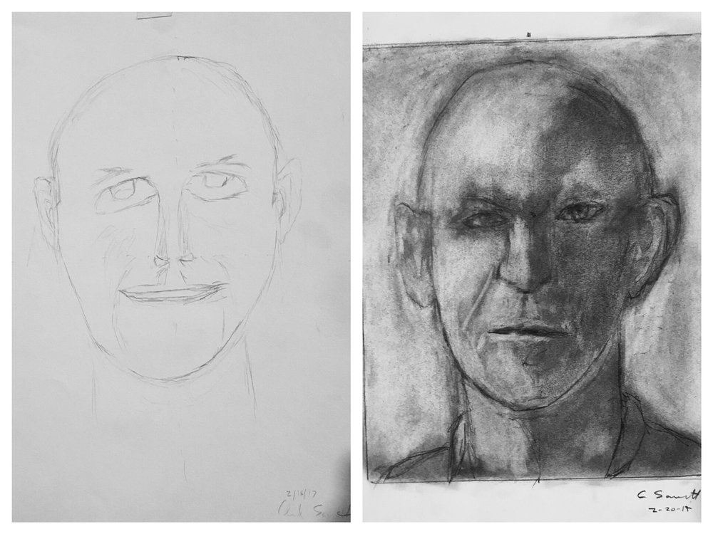 "Here's an example of just one of the ""before"" and ""after"" self-portraits by our students. This transformation occurred after just 5 days of instruction by Brian Bomeisler. You, too, an see the same results!"