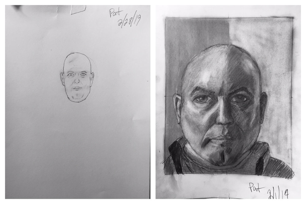 Pat's Before and After Self-Portraits January 2019