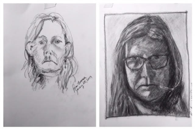 Lisa's Before and After Self-Portraits January 2019