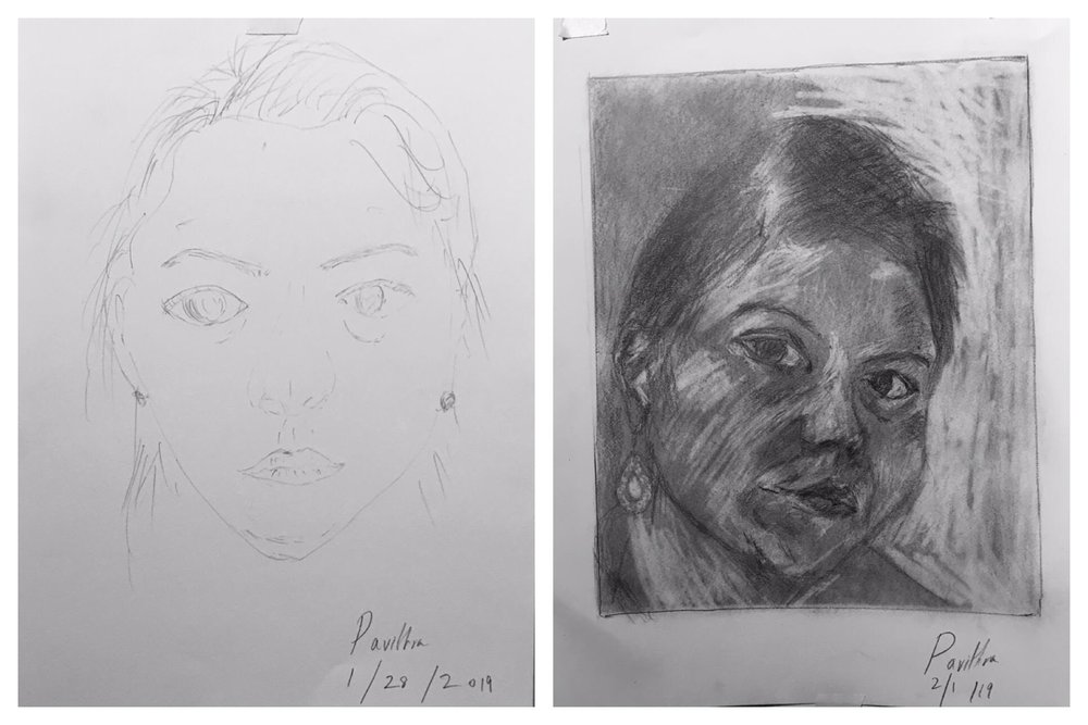 Pavitra's Before and After Self-Portraits January 2019