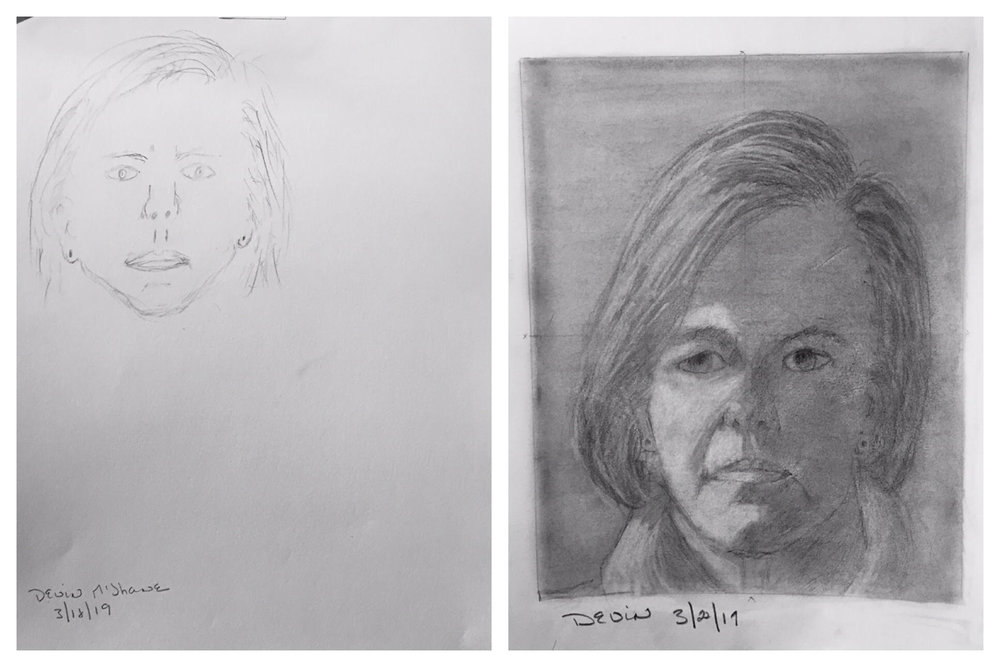 Devin's Before and After Self-Portraits March 2019