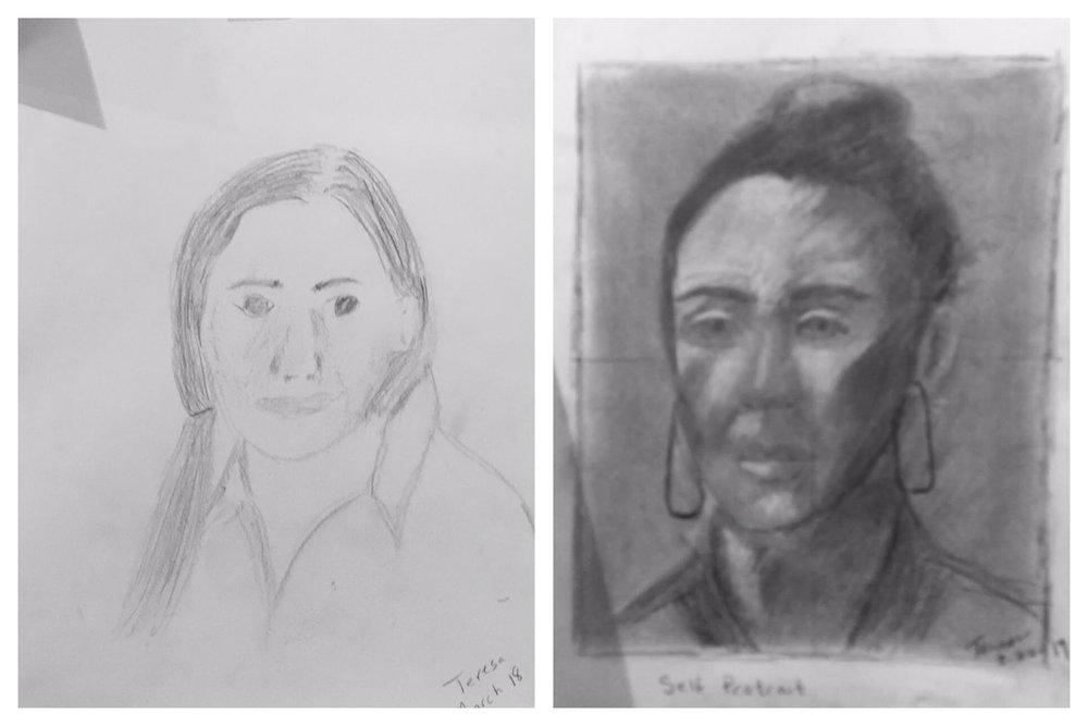Teresa's Before and After Self-Portraits March 2019