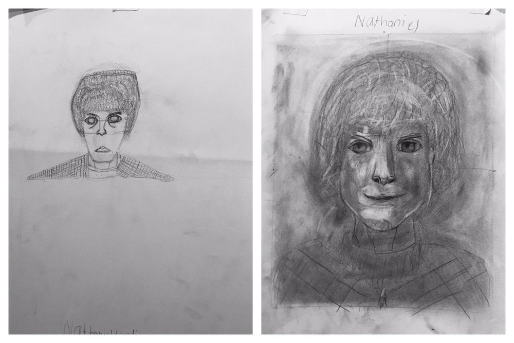 12 Year Old Nathaniel's B&A Self Portraits March 2019