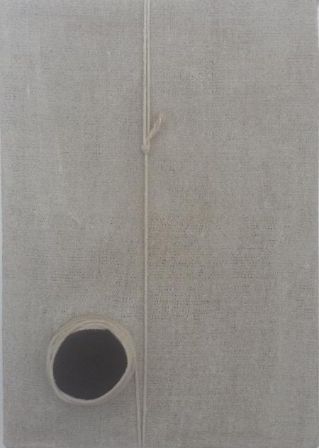 Untitled, Linen, string, felt, 21cm x 30cm. Sarah Pettitt.
