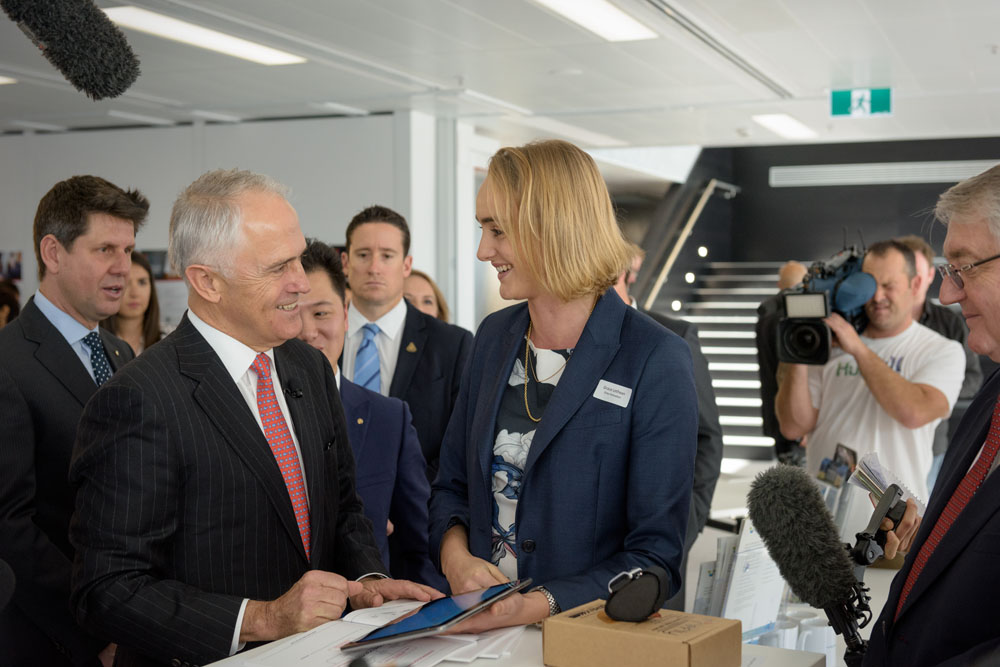 Business Development Manager Grace Lethlean explaining the Grey business model to Prime Minister Malcolm Turnbull as he seeks out leading Australian innovation.