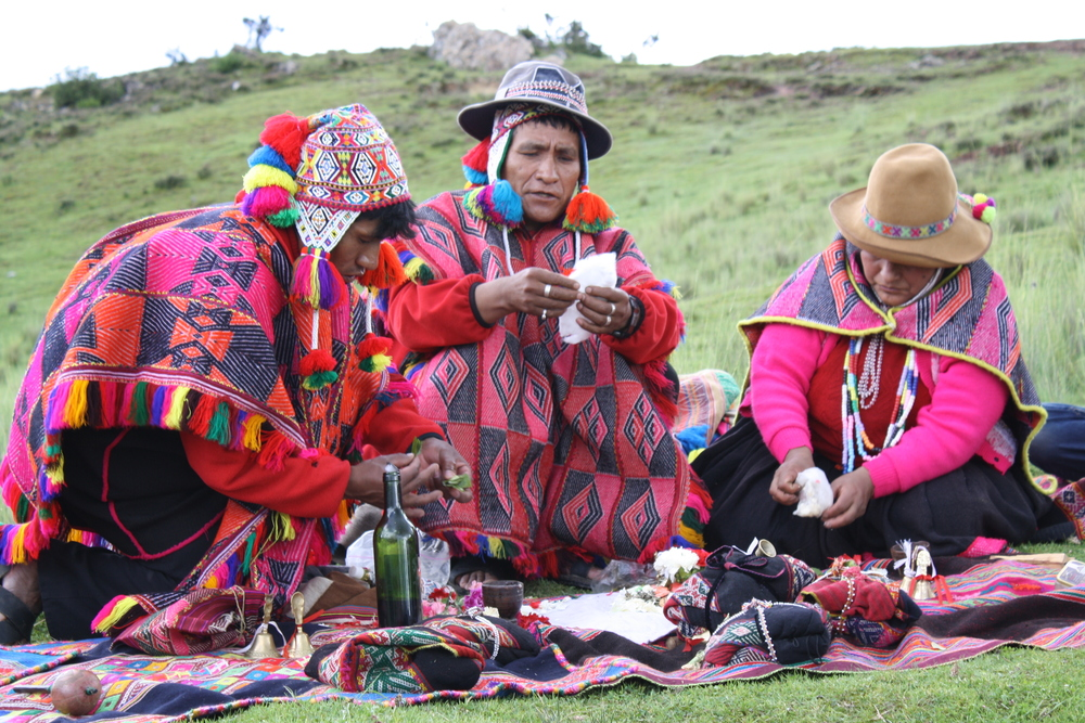 Despacho ceremony with members of the Q'ero Tribe. The Q-ero practice an active tradition of oral literature, with stories being passed down from generation to generation. Some anthropologists believe that the Q-ero are direct descendants of the Inca.