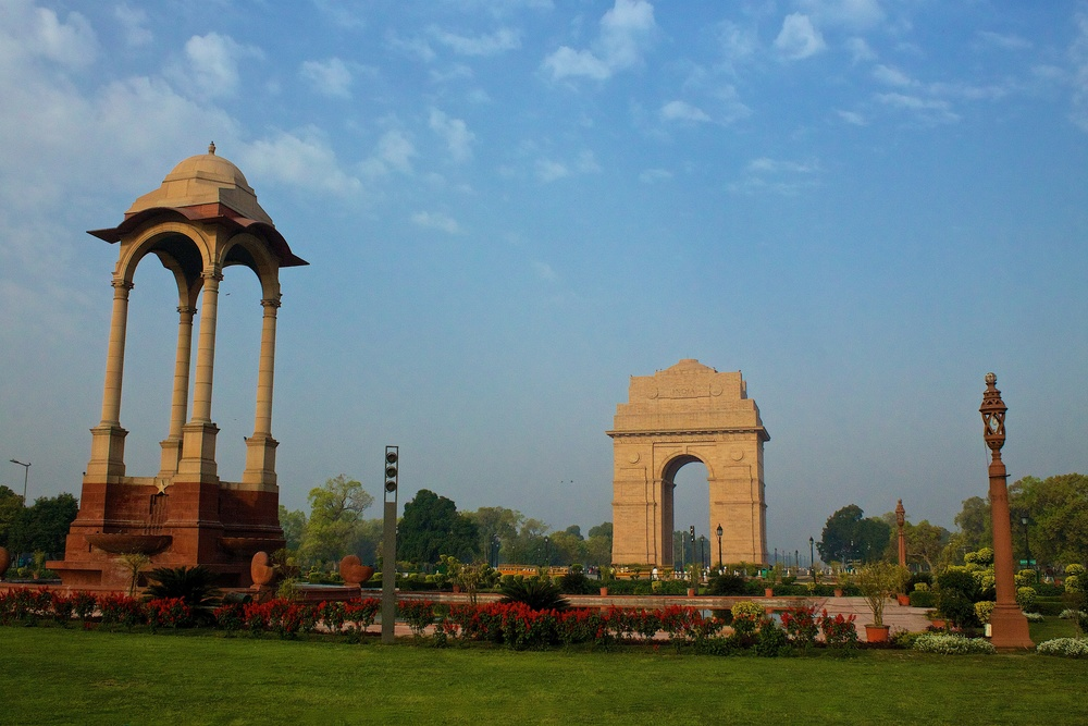 The India Gate is a war memorial located on the eastern edge of the 'ceremonial axis' of New Delhi, India. It is a memorial to the 82,000 soldiers of the undivided Indian Army who died in World War I.