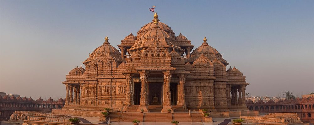 Swaminarayan Akshardham. According to Swaminarayan Hinduism, the word Akshardham means the abode of God and believed to be a temporal home of God on earth.